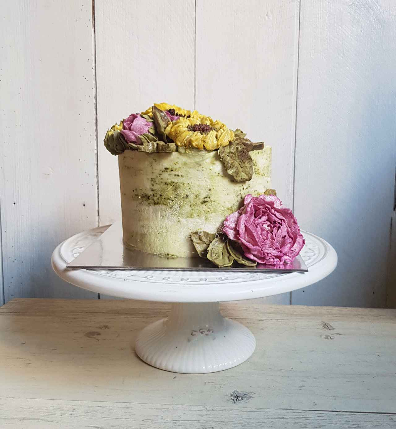 40th Birthday Cake, Sweet Blossom cake with Matcha green tea flavour buttercream