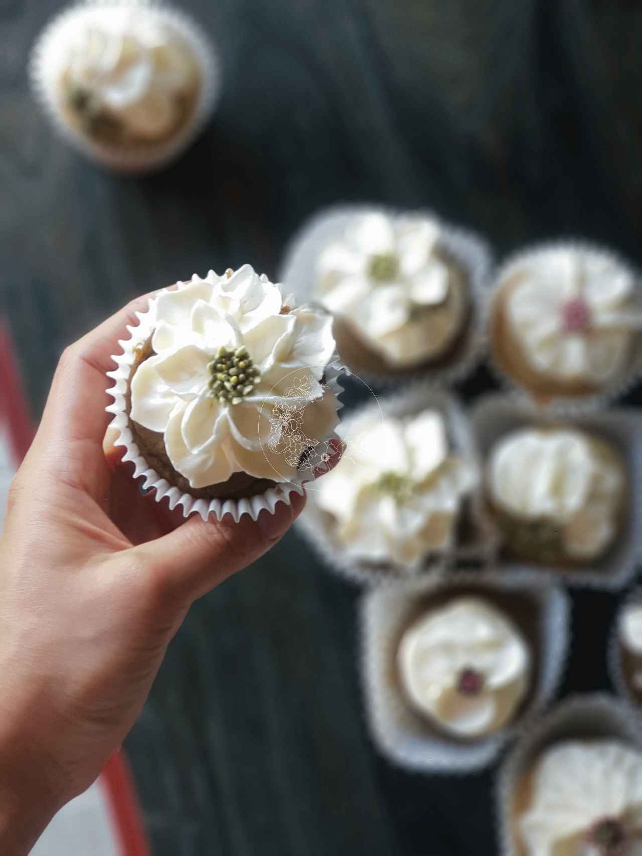 White Sweet Blossom Wedding Cupcakes, these ones have a filling of fresh fruit or home-made compote and a Vegan buttercream Scabiosa flower