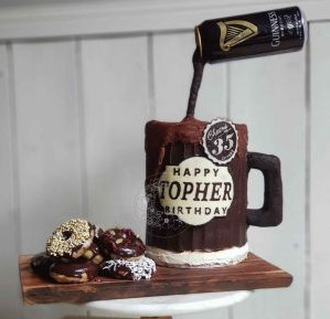 Something unique Gravity Defying beer cake