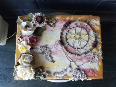 Sweet Blossom Slab Cake, with Buttercream flowers, hand piped custom dreamcatcher, and semi-naked icing with salted caramel drip