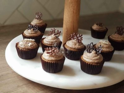 Classic Kahlua flavoured Mini cupcakes with, Kahlua buttercream, and chocolate toppers