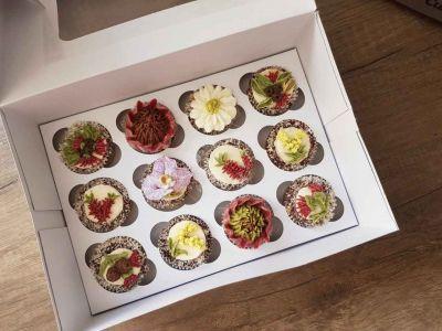 Sweet Blossom Mini Cupcakes Australian Natives, Vanilla Classic Base with Lamington topping and strawberry filling