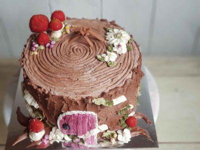 Tree Stump Cake with Strawberry mushrooms, Chocolate Ganache and Buttercream Something Unique
