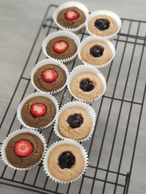 Cupcakes with a filling in the middle, these have fresh strawberry and a blueberry compote. Fillings extra cost